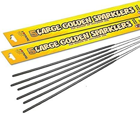 2 Packs 10 Sparklers Inevitable Party 25cm Large Golden Handheld Sparklers for Indoor or Outdoor Use 10