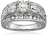 10k White Gold 3-Stone Miracle Diamond Wedding Ring Set (2cttw, I-J Color, I2-I3 Clarity), Size 7