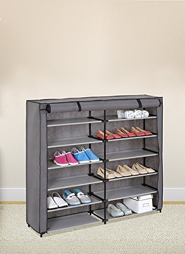 Grey 7-Tier Shoe Rack 42-Pair Portable Shoe Storage Cabinet Organizer with Fabric ()