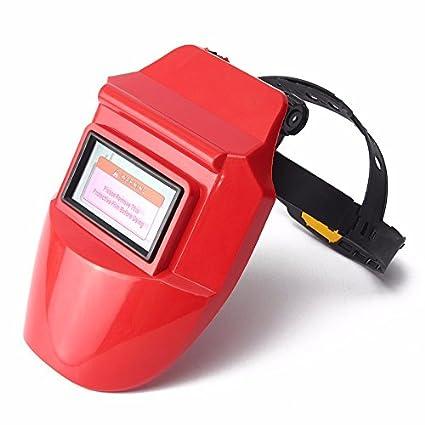 KUNSE Pro Solar Auto Oscurecimiento Soldadura Casco Arco TIG Mig Máscara Rectificado Soldador Máscara-Rojo