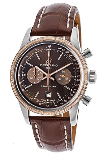 Breitling Women's Brown Crocodile Leather Band Steel Case S. Sapphire Automatic Watch U4131053-Q600LS