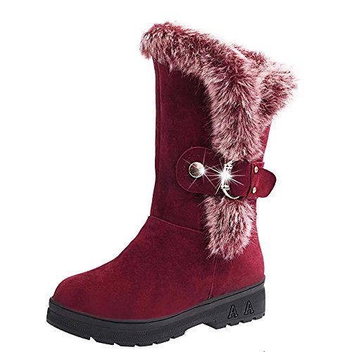 Leoy88 Women Winter Slip-On Soft Round Head Faux Flat Fur Ankle Mid-Calf Snow Boots (8, Wine) (2 Zipper Calf Sneaker Boot)