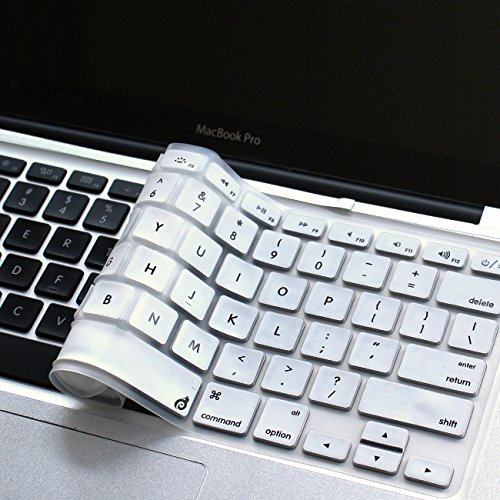 Masino Silicone Keyboard Cover Ultra Thin Keyboard Skin for MacBook Air 13 MacBook Pro with or Without Retina Display 13 15 17, Not Compatible with New MacBook Air 13 2018 (1 PCS, White)