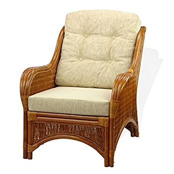 SunBear Furniture Lounge Jam Arm Chair ECO Natural Handmade Rattan Wicker with White Cushions Gognac (Light Brown)