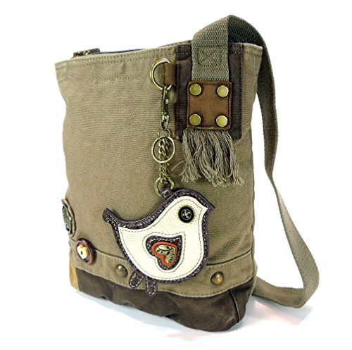 Canvas Patchwork Cross-body Messenger Bag with faux leather Animal Coin Purse (White Chichik Bird - Olive) - Coin Purse Antique