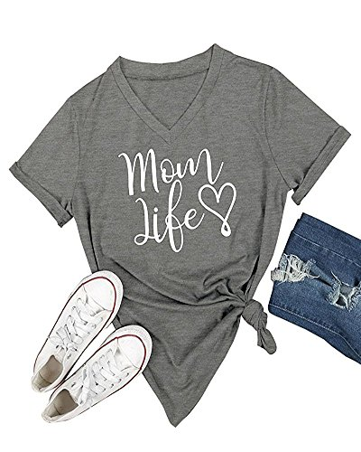 - Gemijack Womens T-Shirt Casual Cotton Mom Life Print Graphic Tees Short Sleeve Tops Grey