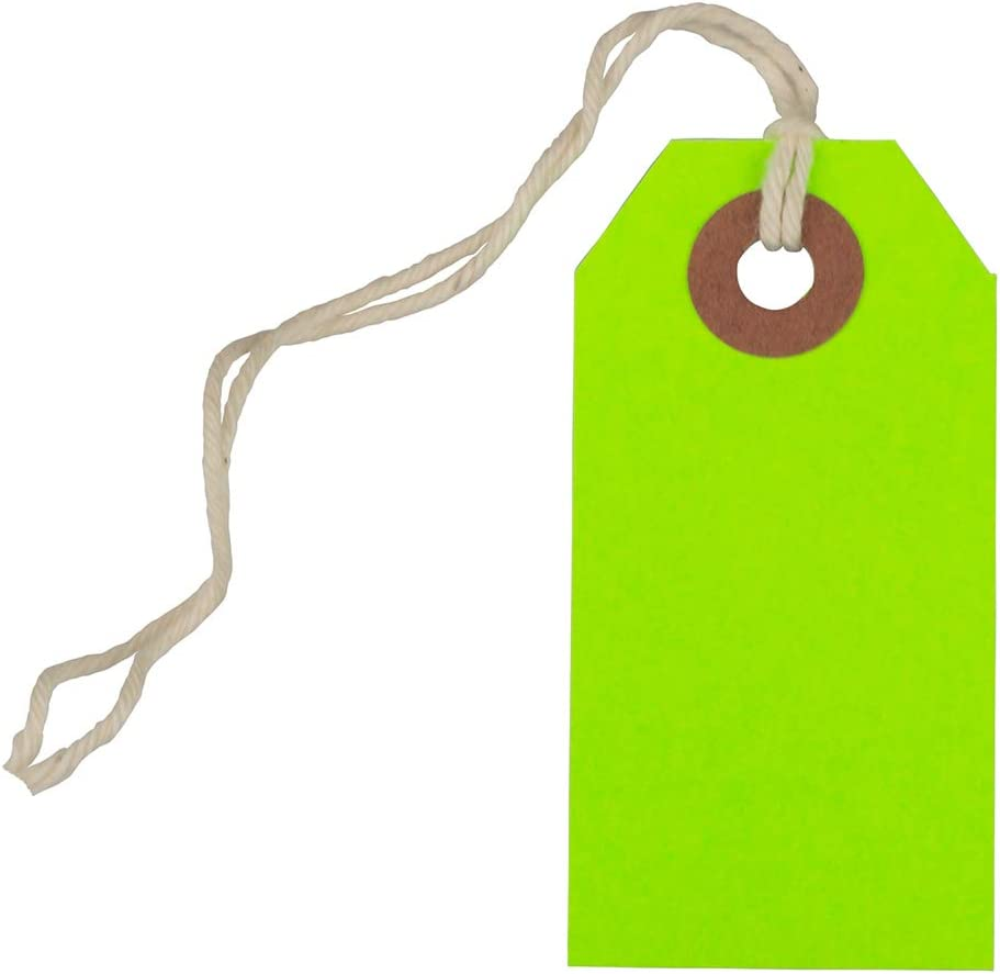 JAM PAPER Gift Tags with String - Tiny - 2 3/4 x 1 3/8 - Neon Green - Bulk 100/Pack