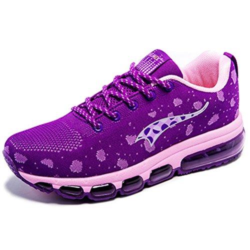 Flexible Purple YiDiar Sports Sneakers Shoes Cushion Air Womens Pink Running 5qvPWq6a8