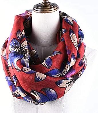 Women/'s Fashion Warm Rose Flower Loop Small Rose Print Scarf Wrap Infinity Shawl