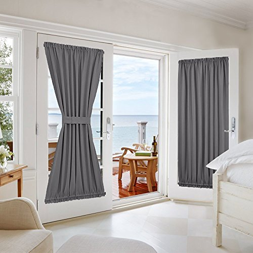 NICETOWN Grey French Door Curtains - Blackout Patio Door/Glass Door Window Curtain Panel for Privacy (One Piece, W54 x L72-Inch, Grey) - French Door Panel