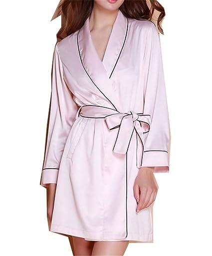 HHXWU Pijamas Camisones de Seda Femenina Primavera y otoño Batas de baño Vestidos de Novia Bordado