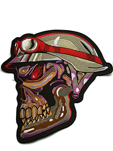 Super Rare! Super Large Appliques Military Army Skull Head Bone Patch Badge 28 cm, Look Cool Embroidered Iron-on Sew Craft for Biker Trucker Rocker Over 80% Embroidery Jacket by Indy Patch