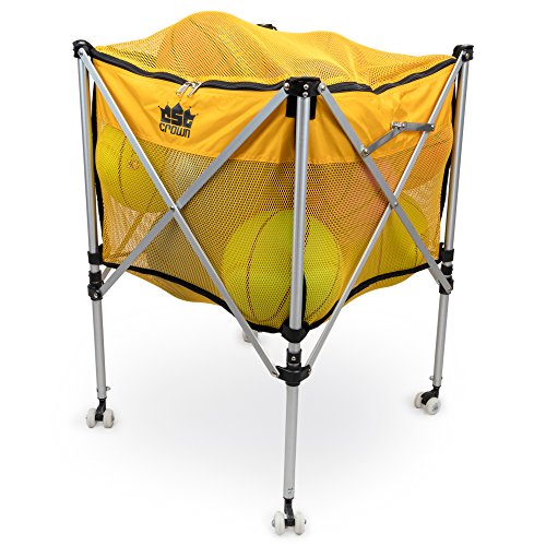 Crown Sporting Goods Collapsible Ball Cart - Rolling Wheels, Zip Top Cover, Sturdy Aluminum Frame for Carrying & Storage