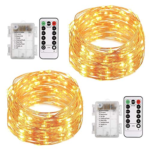 ALOVECO LED String Lights with Remote, 2 Pack 66ft 200 LED Fairy Lights Battery Powered, 8 Modes Waterproof Copper Wire Lights for Party Wedding Christmas Outdoor Decoration