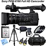 Sony PXW-X180 Full HD XDCAM Handheld Camcorder w/ CS Media Package: Includes Sony 64GB QDS64/T XQD S Series Memory Card, Full Size Aluminum Tripod With Carrying Case, High Definition Filter Kit (UV,CPL,FLD), Boom Microphone, HDMI Cable, Shockproof Carryin
