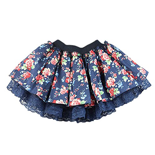 Weixinbuy Kids Girls Floral Lace Tutu Princess Party Mini Skirts