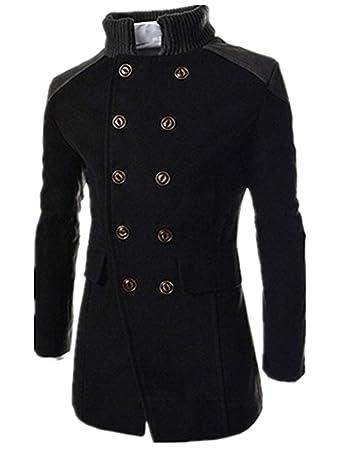 5974c94e2261 Ximandi Men s Slim Fit Winter Warm Woolen Coat Business Jacket Soft Touch