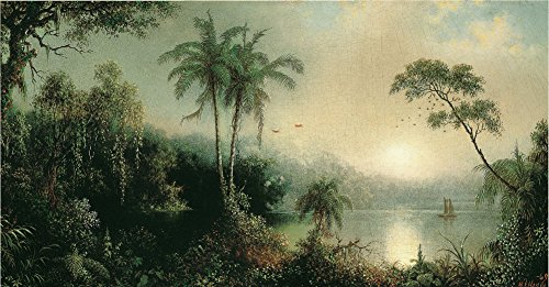 Martin Johnson Heade - Sunrise in Nicaragua, Size 16x36 inch, Canvas Art Print Wall décor ()