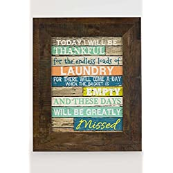 "Be Thankful For Laundry Room Decor Coral Aqua Children Restoration Rustic Wood Decor 13x16"""