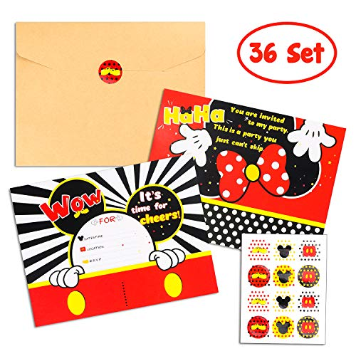 BEYUMI 36 PCS Mickey Party Invitation Cards Mickey Minnie Inspired Party Favor Supplies, Envelopes, Fill-in-Blank Cards and Stickers for Kids Birthday]()