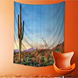 Wall Hanging Tapestries Sun Goes Down in Desert Prickly pear Cactus Southwest Texas Natial Park Bedroom Living Room Dorm Decor 40W x 60L INCH