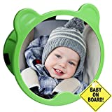 Automotive : CARTMAN Green Bear Shape, Baby Car Mirror 360 Adjustable & Double Straps with Baby on Board Sign