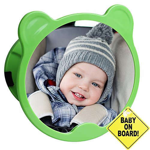 CARTMAN Green Bear Shape, Baby Car Mirror 360 Adjustable & Double Straps with Baby on Board Sign by CARTMAN