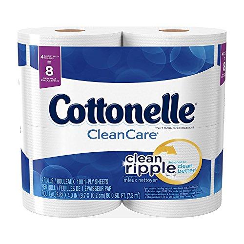 4 Double Rolls (Cottonelle CleanCare Double Roll Toilet Paper, Bath Tissue, 4 Count (Bundle of 2))