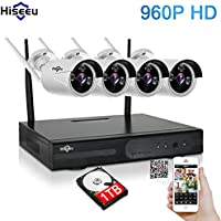Hiseeu Wireless CCTV System 960P 4ch Powerful Wireless 1080P NVR 1TB HDD Pre-install,4PCS 1.3Megapixel Wireless Weatherproof Bullet IP Cameras,Plug and Play,P2P,App,Home Security System