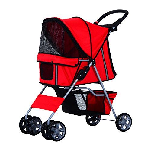PawHut D00-058RD Katze/Hundewagen Pet Stroller Becherhalter Jogger 4 Räder, rot