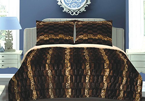 Luxurious 3pcs Set Faux Fur Animal Print Sherpa Borrego Reversible Blanket Queen Chocolate Stripe 100% Poloyester Microfiber Ultra Soft and Cozy (Blanket Size Animal Queen Print)