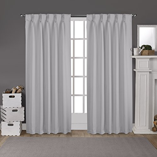 Back Drape Top Pleat (Exclusive Home Curtains Sateen Pinch Pleat Woven Blackout Back Tab Window Curtain Panel Pair, Silver, 52x84)