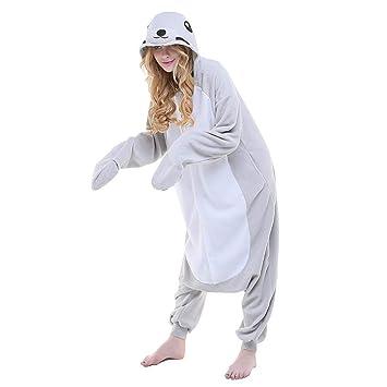 DUKUNKUN Pijamas Seal Traje De Pijamas Gris Juego De Roles para Adultos Animal Ropa De