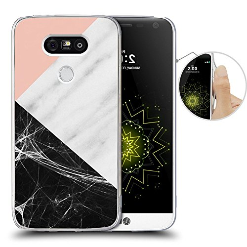 LG G5 Case, Pink marble patchwork design, LAACO Scratch Resistant TPU Gel Rubber Soft Skin Silicone Protective Case Cover for LG G5