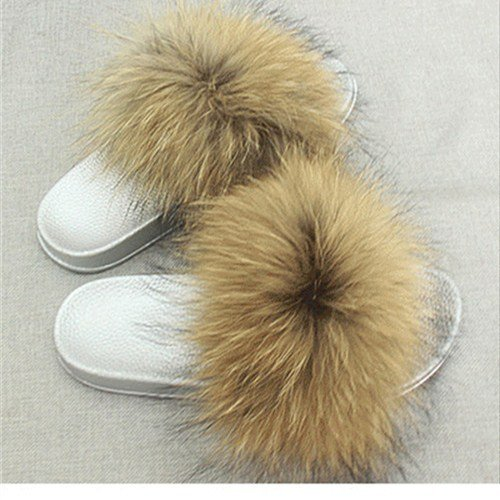 Fashion Slides Women qmfur Shoes Summer Flat Soft Girls Slippers Fur Silver Natural Real Fox for wnSRXFqZ