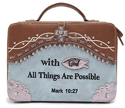 - Cowgirl Trendy Embroidered Mark 10:27 Scripture Bible Verse Cover Books Case Cross Purse Messenger Bag (BLUE)