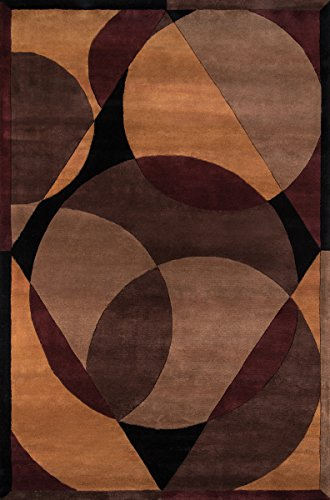 Momeni Rugs NEWWANW-78BRN7696 New Wave Collection, 100% Wool Hand Carved & Tufted Contemporary Area Rug, 7'6