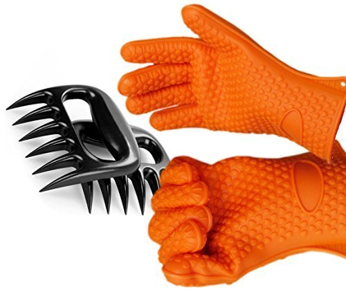 Silicone BBQ Gloves With Bear Claw Meat Shredder * Perfect for Shredding Smoked Meat & Pulled Pork * Heat Resistant up to 425F (Approx. 218C) * Dishwasher safe, FDA Approved And BPA Free * Includes A Bear Claw Meat Shredder