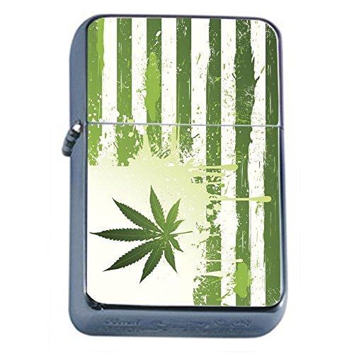 Vintage-Marijuana-Flip-Top-Dual-Torch-Lighter-S2-Smoking-Cigarette-Smoker-420-Weed