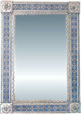 - Big Silver Escudo Talavera Tile Tin Mirror