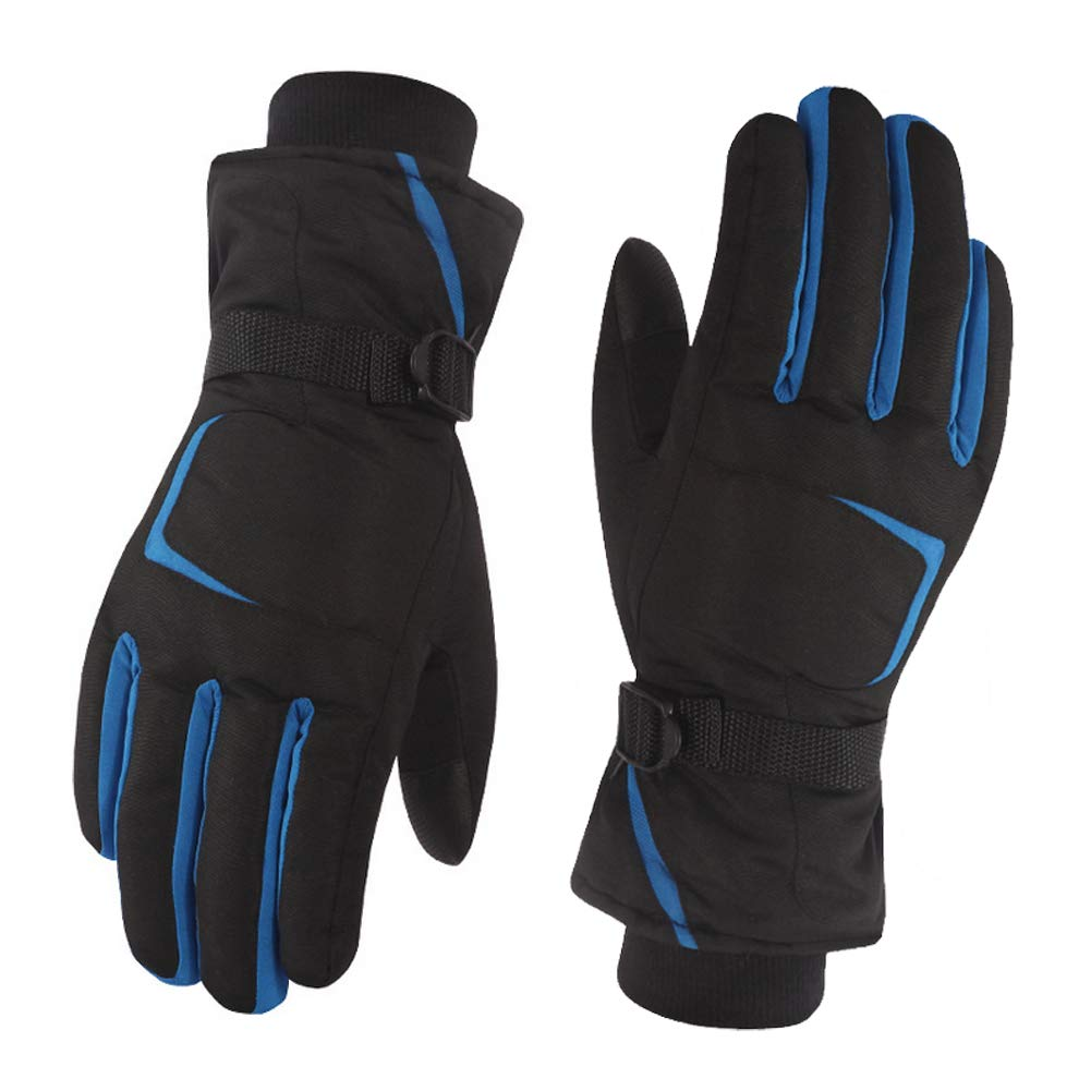 1 Pair Blue Black Ski Snowboard Gloves Waterproof and Windproof Thicken Gloves Unisex Breathable Lined Cotton Gloves for Winter Riding Biking Driving and Other Outdoor Activities SYBL