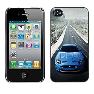 GIFT CHOICE / SmartPhone Carcasa Teléfono móvil Funda de protección Duro Caso Case para iPhone 4 / 4S /BLUE JAG XKR SEXY CAR/