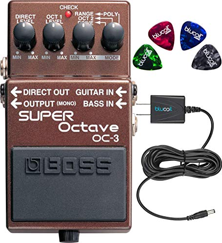 BOSS OC-3 Super Octave Pedal for Guitar or Bass Bundle with Blucoil Slim 9V 670ma Power Supply AC Adapter and 4-Pack of Celluloid Guitar Picks