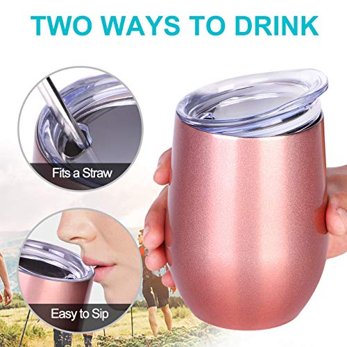 NEWBEA-12-oz-Wine-Tumbler-with-LidDouble-Wall-Vacuum-Insulated-Stemless-Wine-GlassesStainless-Steel-Wine-Cup-for-WineCoffeeDrinksChampagneCocktails-Best-Gifts-for-MomWomen