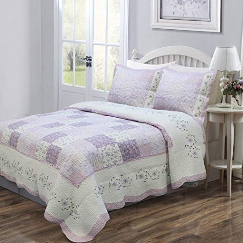 3 Piece Beautiful Purple White Grey Patchwork Pattern Full Queen Quilt Set,Floral Square Patterned Reversible Bedding Lilac Lavendar Cottage Scalloped French Country Shabby Chic Vintage Antique,Cotton