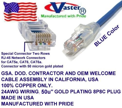 Made in USA, UL cm and 100/% Copper. 24AWG, 50u Gold Plating 36 Ft Cat5e Ethernet Patch Cable Blue, RJ45 Computer Networking Cord -
