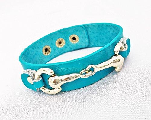 Wardani, gold Horse bit genuine leather Bracelet adjustable Handmade - Tory Br