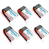 HOBBYTIGER 6-Pack 3.7V 150mAh Battery for Eachine E010 JJRC H36 Mini UFO Quadcopter Drone