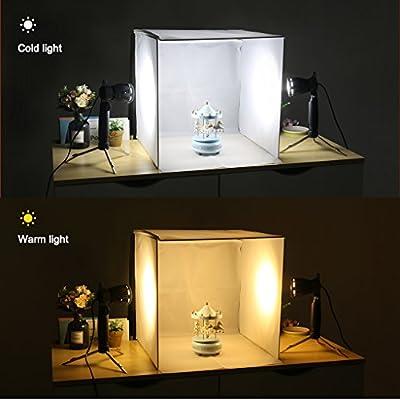 Caja de Luz Portátil 42x42x44cm, Portable Foto Estudio Caja con 4 Luz LED Blanco y Frío, 5 Fondos de Color (Negro, Azul, Blanco, Rojo, Verde): Amazon.es: Electrónica