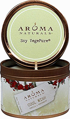 Aroma Naturals - Wish Holiday Soy VegePure Small Travel Tin Eco-Candle Peppermint & Vanilla by Aroma Naturals ()